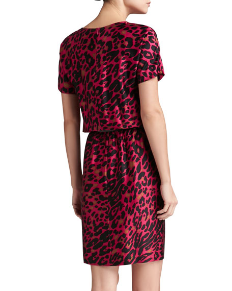 Leopard Print Stretch Silk Charmeuse Dolman Sleeve Dress