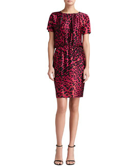 St. John Collection Leopard Print Stretch Silk Charmeuse Dolman Sleeve Dress
