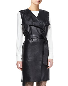 St. John Collection Milano Knit Vest with Leather, Caviar