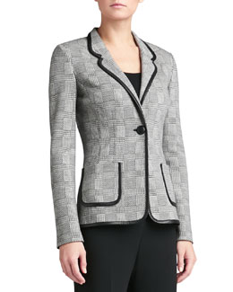 St. John Collection Plaid Knit Blazer with Leather Trim, Caviar/Linen