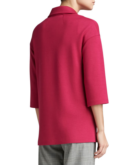 Milano Knit 3/4-Sleeve Topper with Patch Pockets