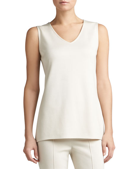 Milano Knit V-Neck Tunic Shell with Side Slits & Decorative Topstitch