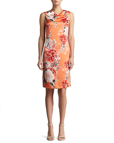 St. John Collection Chrysanthemum Print Stretch Silk Charmeuse Sleeveless Shift Dress
