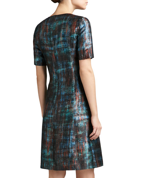 Painterly Plaid Print Mikado Short Sleeve Dress with Flared Skirt
