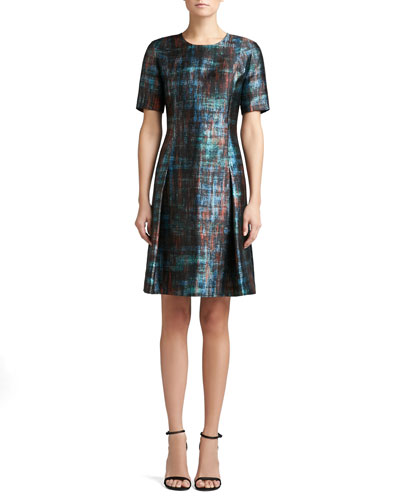 St. John Collection Painterly Plaid Print Mikado Short Sleeve Dress with Flared Skirt
