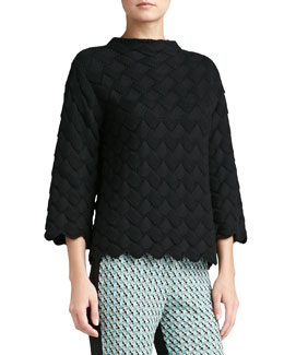 St. John Collection Basketweave Knit Sweater, Caviar