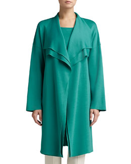 St. John Collection Milano Knit Jacket with Slits, Verde