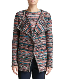 St. John Collection Space Dye Knit Cardigan, Caviar/Multi