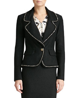 St. John Collection Bouch Plaid Knit Blazer, Caviar