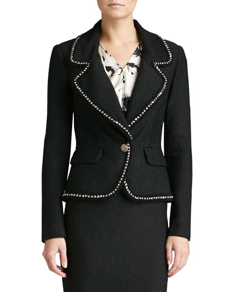 Boucle Plaid Knit Blazer with Chain Trim & Pocket Flaps
