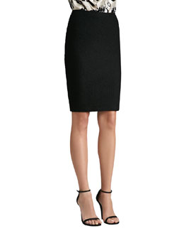 St. John Collection Plaid Knit Pencil Skirt, Caviar
