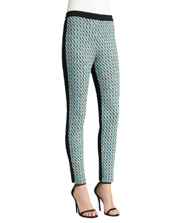 St. John Collection Tweed Knit Ankle Pants, Caviar/Verde