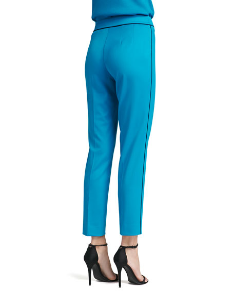 Stretch Venetian Wool Pant with Silk Contrast Piping