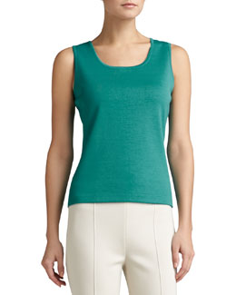 St. John Collection Milano Knit Contour Tank, Verde