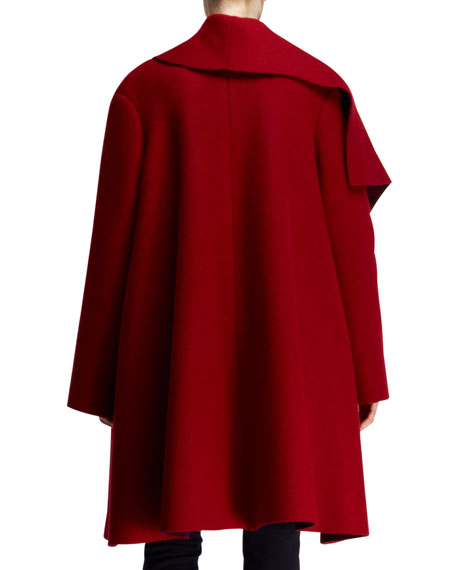 Full-Lapel Draped Wool-Mohair Coat