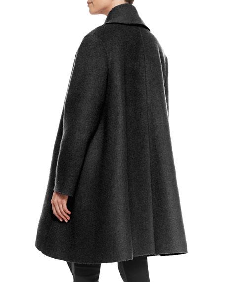 Wool/Mohair Coat with Draped Lapel, Black