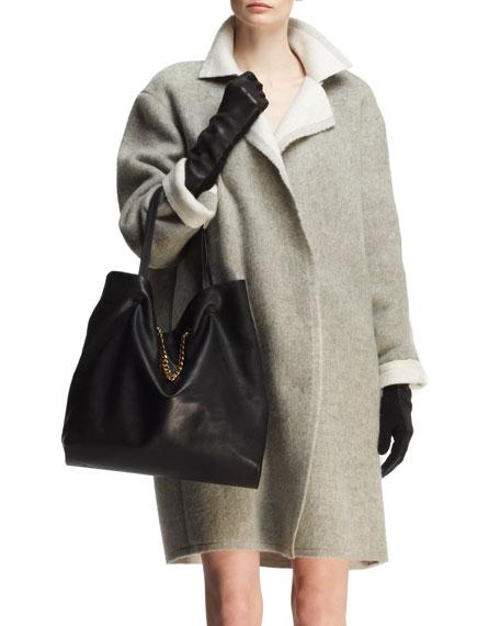 Bicolor Wool-Mohair Cocoon Coat