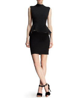 Lanvin Sleeveless Neoprene Peplum Dress