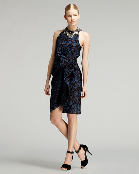 Bow-Waist Liquid Jacquard Dress