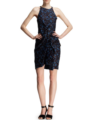 Lanvin Bow-Waist Liquid Jacquard Dress