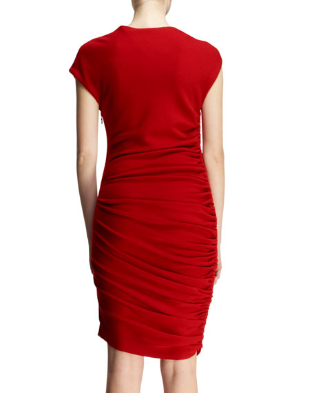 Ruched Pin-Shoulder Jersey Dress