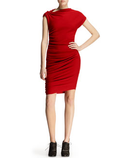 Lanvin Ruched Pin-Shoulder Jersey Dress