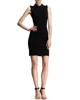 Lanvin Embellished Jersey Cocktail Dress