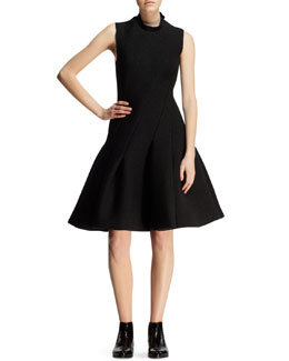 Lanvin Bias-Seamed Flared Neoprene Dress