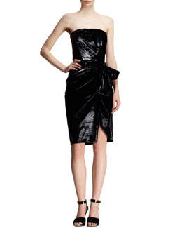 Lanvin Bow-Waist Strapless Liquid Velvet Dress