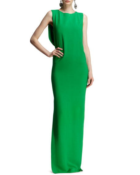 Bow-Back Jersey Column Gown