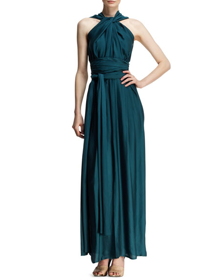 Draped Halter Goddess Gown
