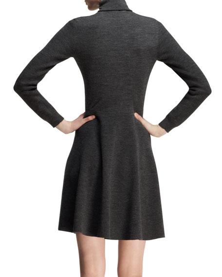 Floral-Appliqué Knit Turtleneck Dress