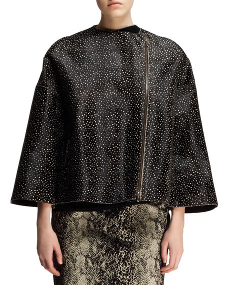 Boxy Spotted Calf Hair Jacket