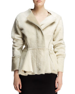 Lanvin Seamed Shearling Peplum Jacket