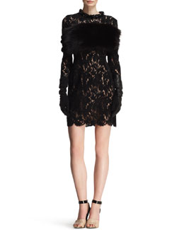 Lanvin Fox Fur and Knit Infinity Wrap