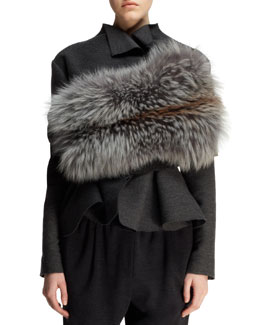 Lanvin Knit and Fox Fur Infinity Wrap