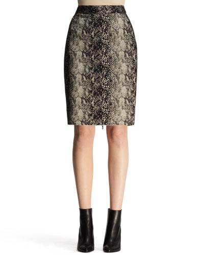 Lanvin Python-Jacquard Pencil Skirt