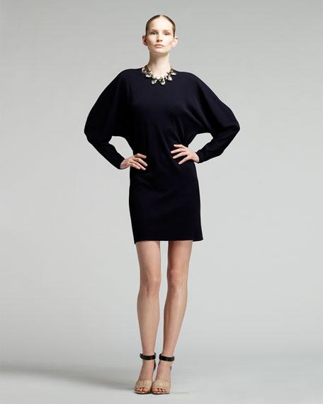 Blouson Jersey Seam-Back Shift Dress