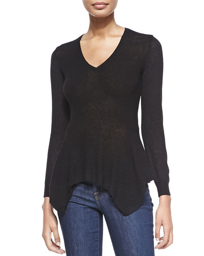 Lanvin Long-Sleeve Scarf-Hem Sweater, Black