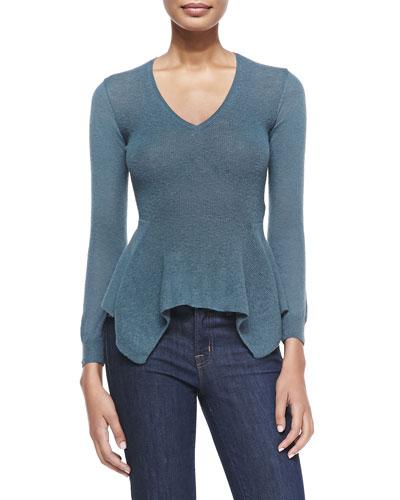 Lanvin Long-Sleeve Scarf-Hem Sweater, Cloud