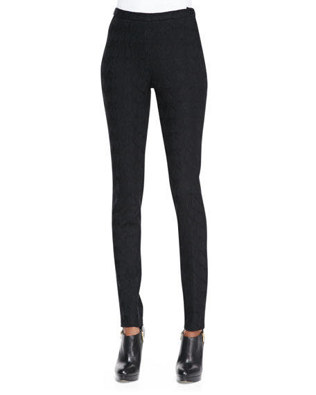 Skinny Jacquard Pants, Black