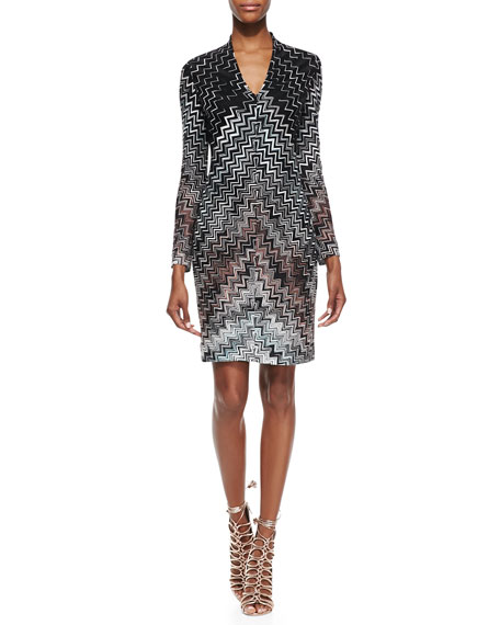 Long-Sleeve Zigzag-Knit Dress, Black/White/Brown
