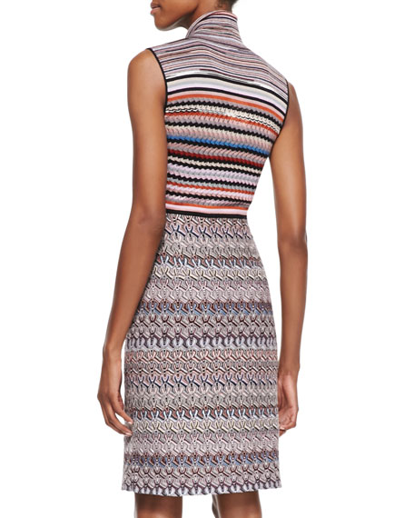 Sleeveless Tie-Neck Knit Dress, Red/Multi