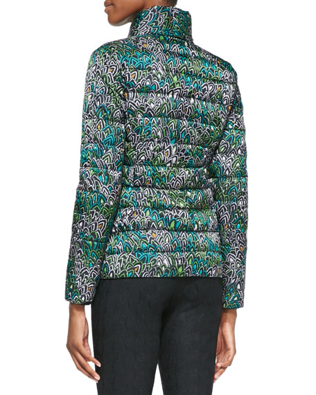 Printed Puffer Jacket, Green/Multi