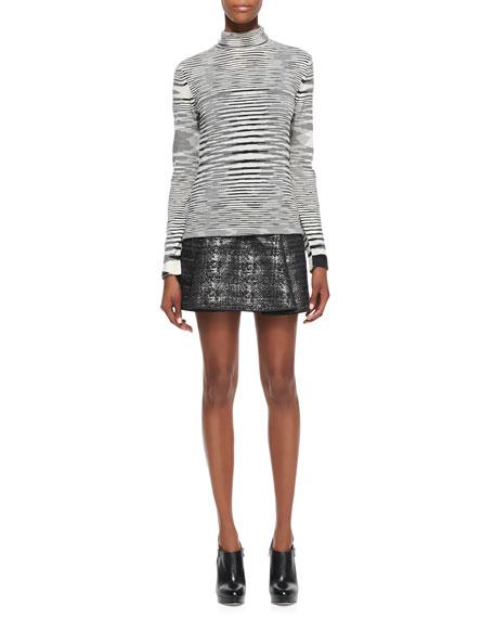 Pleated Metallic Miniskirt, Black/Gunmetal