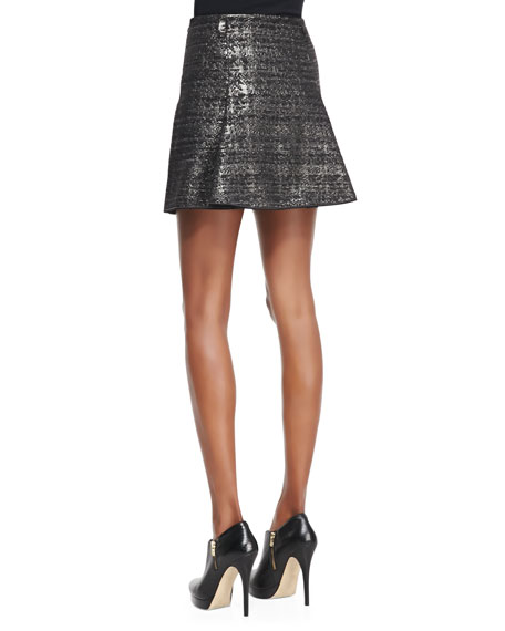 Pleated Metallic Miniskirt, Black/Gunmetal