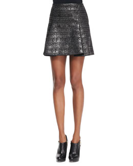 Missoni Pleated Metallic Miniskirt, Black/Gunmetal