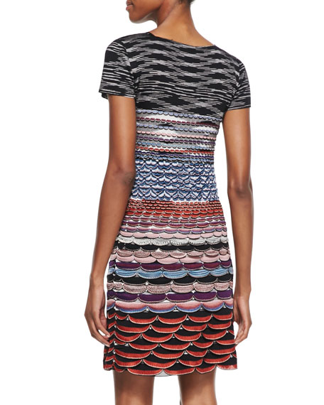 Short-Sleeve Knit Mini Dress, Red/Blue/Multi