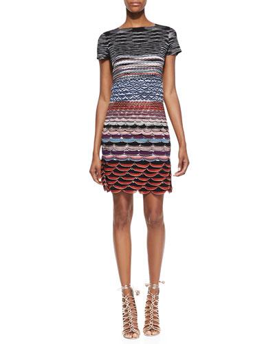 Missoni Short-Sleeve Knit Mini Dress, Red/Blue/Multi