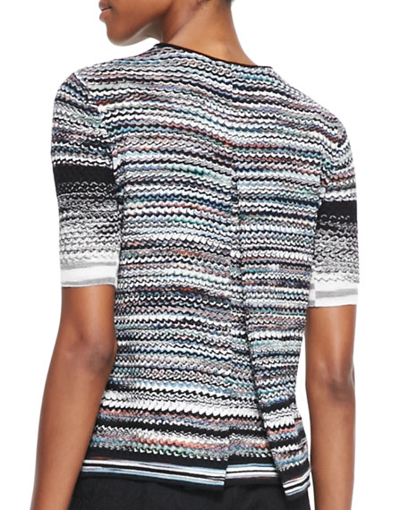 Short-Sleeve Pleated Back Sweater, Multicolor